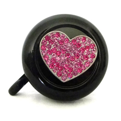 Pink heart on black Bike Bell By CruiserCandy.com