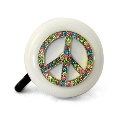 Rainbow Peace Sign Bike Bell By CruiserCandy.com