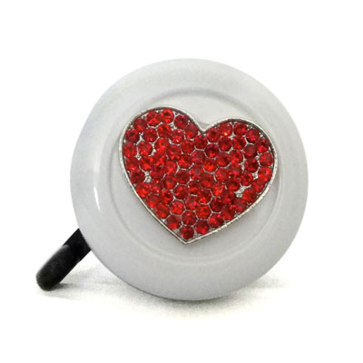 Red heart on white Bike Bell By CruiserCandy.com