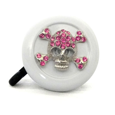 Pink Skull on White Bike Bell By CruiserCandy.com