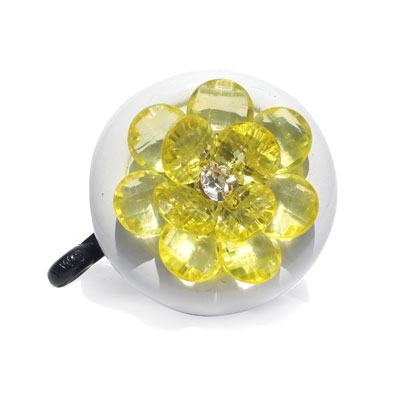 Yellow Flower Bike Bell By CruiserCandy.com