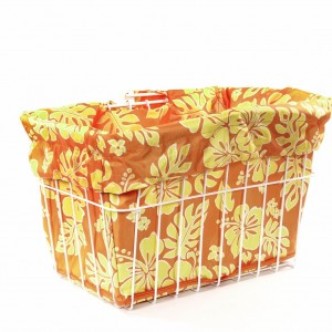 Orange & Yellow Hibiscus Bike Basket Liner by CruiserCandy.com