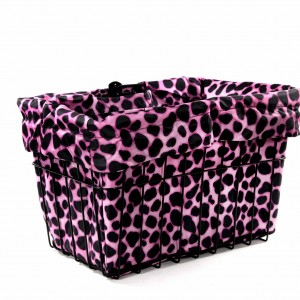 Pink Dalmation Bike Basket Liner by CruiserCandy.com