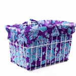 Purple Blue Hibiscus Bike Basket Liner by CruiserCandy.com