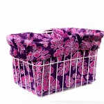 Purple Pink Hibiscus Bike Basket Liner by CruiserCandy.com
