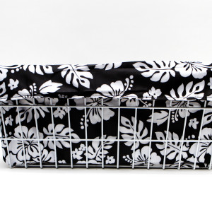 CruiserCandy - Trike Basket Liner - Black/White Hibiscus