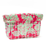 CruiserCandy - Coral/Green Hibiscus Bicycle Basket Liner